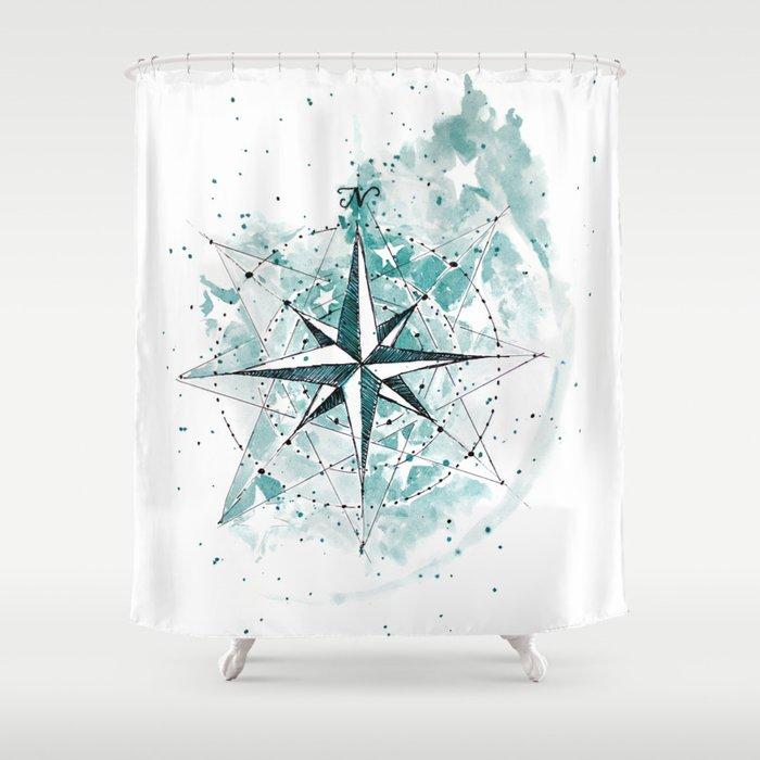 Compass Sketch Shower Curtain