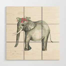 Ellie the Elephant and her flower crown Wood Wall Art