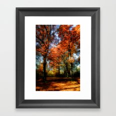 red fall Framed Art Print