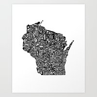 wisconsin Art Prints featuring Typographic Wisconsin by CAPow!