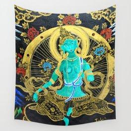 Thang-ga of Green Tara Wall Tapestry