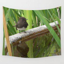 Black Phoebe at the Fountain Wall Tapestry