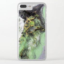 Emerald Green Marble with Gold Clear iPhone Case
