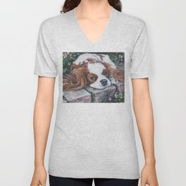 Beautiful Blenheim Cavalier King Charles Spaniel Dog Art Painting by LA.Shepard Unisex V-Neck