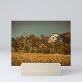 Abandoned Barn Colorized Landscape Photo - Farmhouse Rural Art Mini Art Print