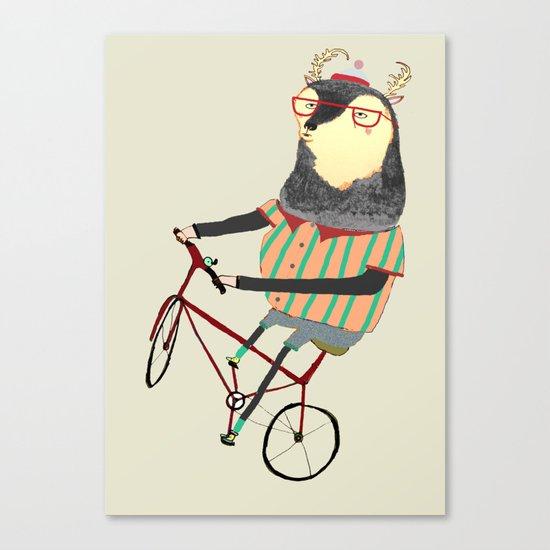 Deer on Bike.  Canvas Print