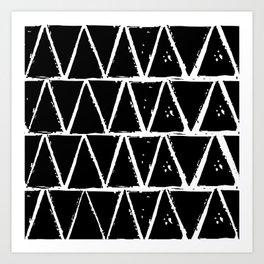 Simple Geometric Zig Zag Pattern- White on Black - Mix & Match with Simplicity of life Art Print
