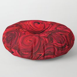Red Apple Roses Abstract Floor Pillow