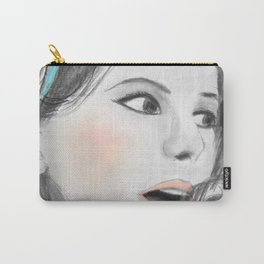 The Umbrellas of Cherbourg black & white by 9IIRLUSTRATION Carry-All Pouch
