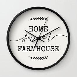 home sweet farmhouse linen vintage design modern rustic modern farmhouse shabby chic word art Wall Clock