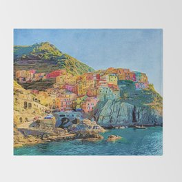 Cinque Terre, Italy   Painting Throw Blanket