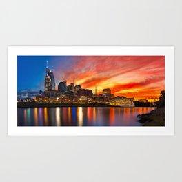 Nashville skyline with sunset Art Print