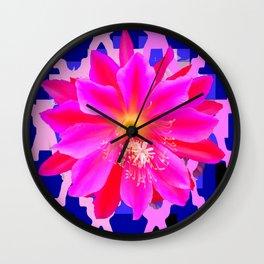 Fuchsia Orchid Cactus Blue Trellis Wall Clock
