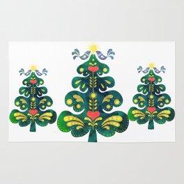 Traditional Scandinavian Folk Art Tree Rug