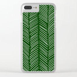Forest Green Herringbone Clear iPhone Case