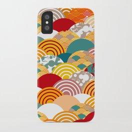 Nature background with japanese sakura flower, orange red pink Cherry, wave circle pattern iPhone Case