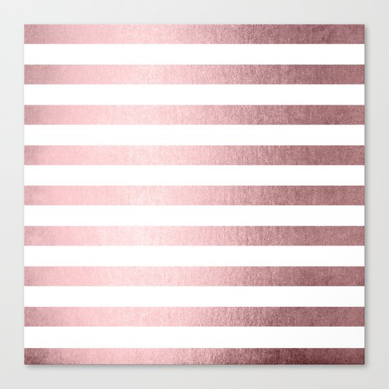 Simply Striped Rose Quartz Elegance Canvas Print