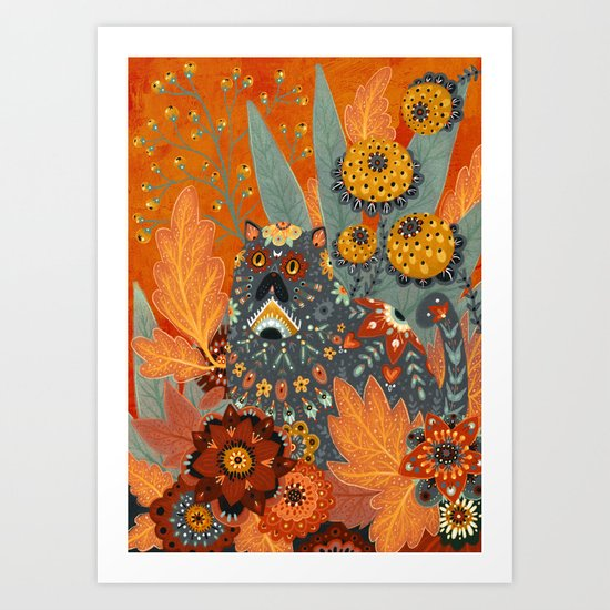 Foliage Cat Art Print