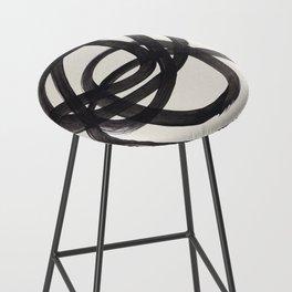 Mid Century Modern Minimalist Abstract Art Brush Strokes Black & White Ink Art Spiral Circles Bar Stool