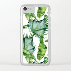 Tropical Island Plants on White Clear iPhone Case