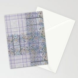 Plaid Tartan & Morning Glories Stationery Cards
