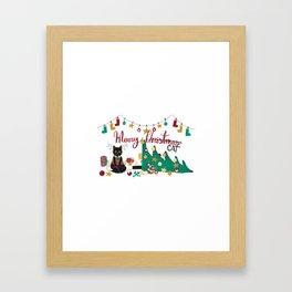 Happy Merry Christmas Cat Framed Art Print