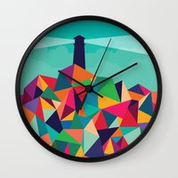 sayings Wall Clocks featuring I'll be your lighthouse if you'll be my sea by Picomodi