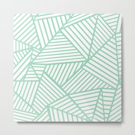 Abstract Lines Close Up Mint Metal Print