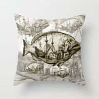 fish Throw Pillows featuring fish by Кaterina Кalinich