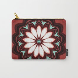 Decorative Deep Red and White Flower Design Carry-All Pouch