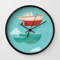 boat Wall Clocks featuring Floating Boat by ErDavid