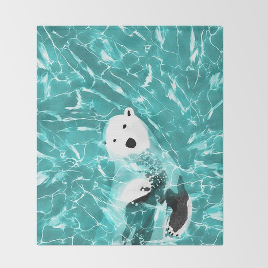 playful polar bear in turquoise water design throw blanket by
