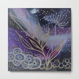 Purple Space Flowers Metal Print