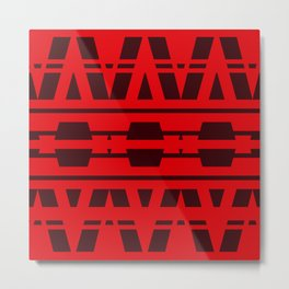 Red Fire Geometric Design Metal Print