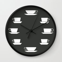 Pattern of Coffee and Tea Cups Wall Clock