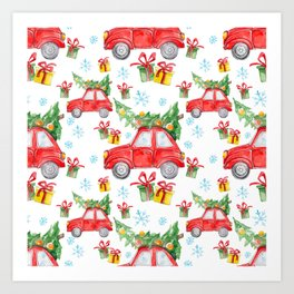 Christmas Red Car Art Print