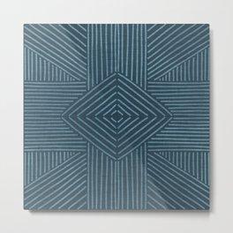 Petrol blue-green line work on textured cloth - abstract geometric pattern Metal Print