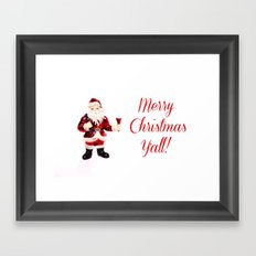 Merry Christmas Y'all Santa Framed Art Print