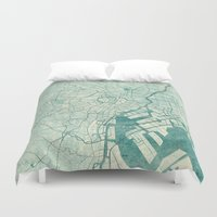 vintage map Duvet Covers featuring Tokyo Map Blue Vintage by City Art Posters