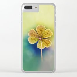 Heart-shaped Clover like Oxalis Macro. St Patrick's Day Clear iPhone Case