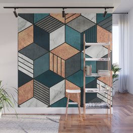Copper, Marble and Concrete Cubes 2 with Blue Wall Mural
