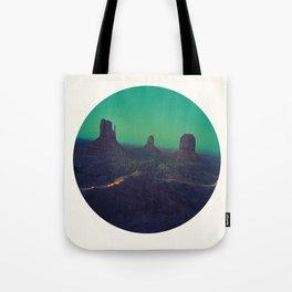 Mid Century Modern Round Circle Photo Graphic Design The Grand Canyon With Green Sunset Sky Tote Bag