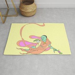 Vintage Traditional Goddess Deva Illustration Pattern (PINK/GREEN/YELLOW) Rug