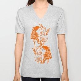 Blooming Lady-Orange Unisex V-Neck
