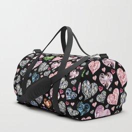 Heart Diamonds are Forever Love Black Duffle Bag
