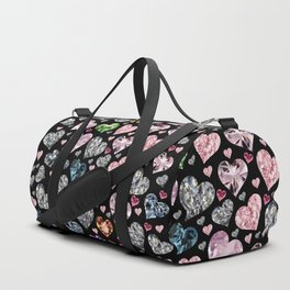Heart Diamonds are Forever Love Black Duffle Bag