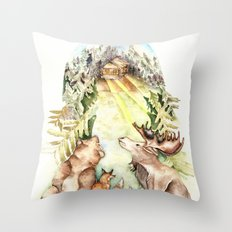 Woodland Creatures Throw Pillow