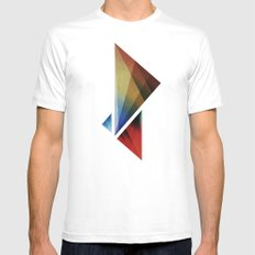 Triangularity Means We Dream in Geometric Colors White MEDIUM Mens Fitted Tee
