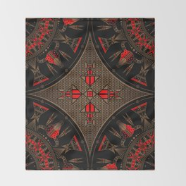 buffalo gathering Red Throw Blanket