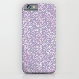 Lavender Purple Cat Print Animal Pattern with a Blush of Pink iPhone Case